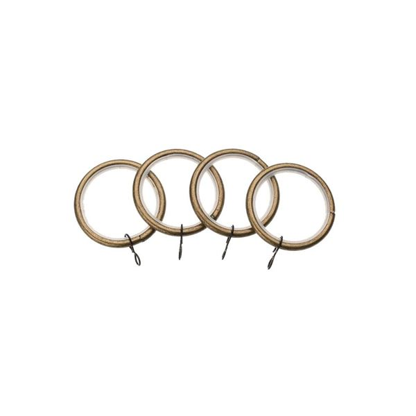 Universal Curtain Pole Rings (4) - Antique Brass