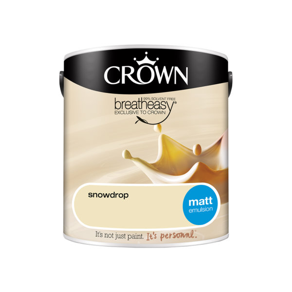Crown Matt Emulsion 2.5Lt - Creams - Snowdrop
