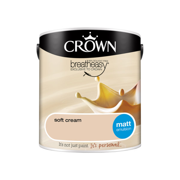 Crown Matt Emulsion 2.5Lt - Creams - Soft Cream