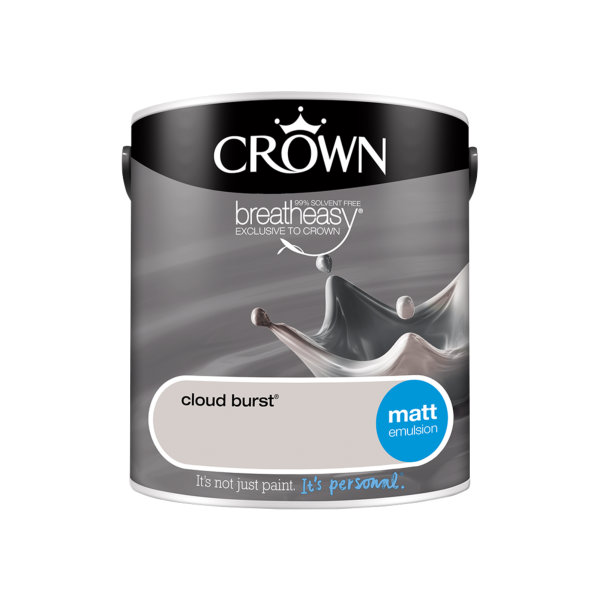 Crown Matt Emulsion 2.5Lt - Greys - Cloud Burst