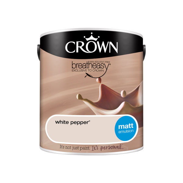 Crown Matt Emulsion 2.5Lt - Neutrals - White Pepper