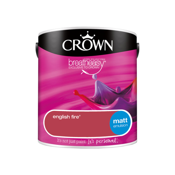 Crown Matt Emulsion 2.5Lt - Reds - English Fire