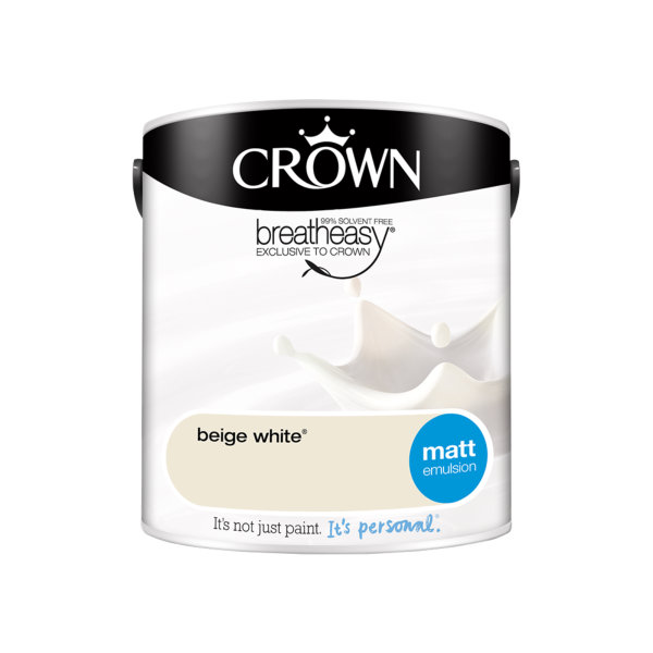 Crown Matt Emulsion 2.5Lt - Whites - Beige White
