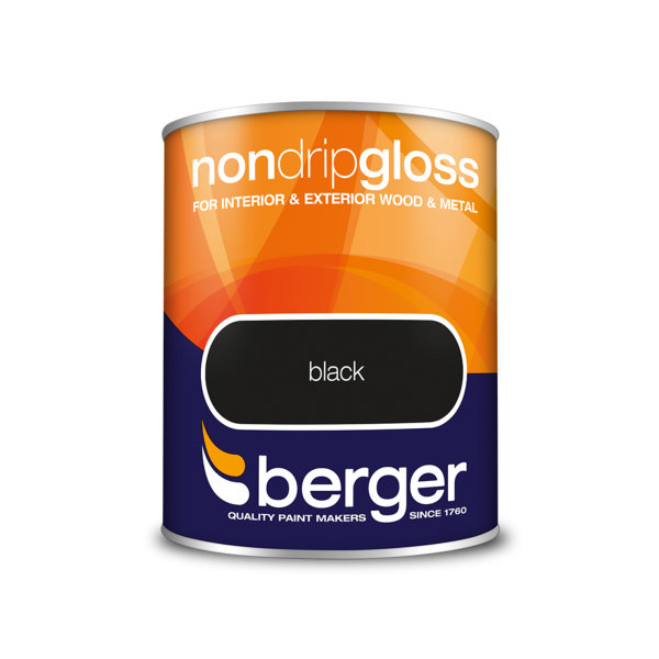 Berger Non-Drip Gloss 750ml - Black