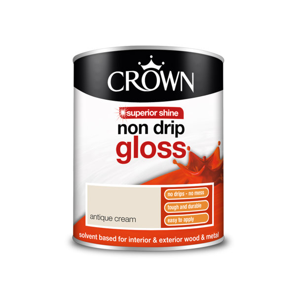 Crown Non-Drip Gloss 750ml - Antique Cream
