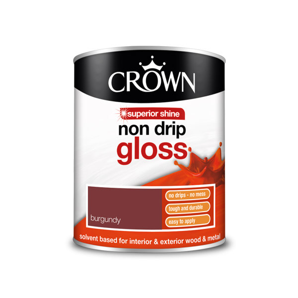 Crown Non-Drip Gloss 750ml - Burgundy