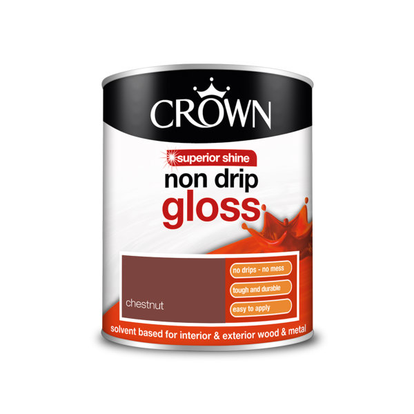 Crown Non-Drip Gloss 750ml - Chestnut