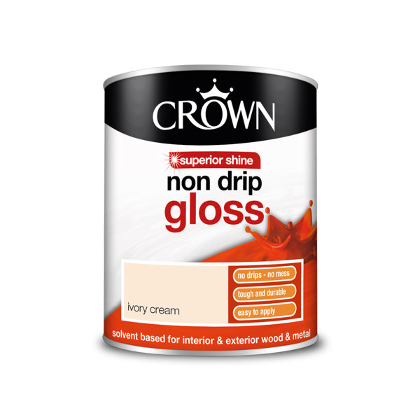 Crown Non-Drip Gloss 750ml - Ivory Cream