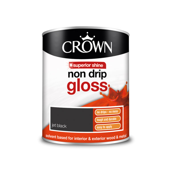 Crown Non-Drip Gloss 750ml - Jet Black