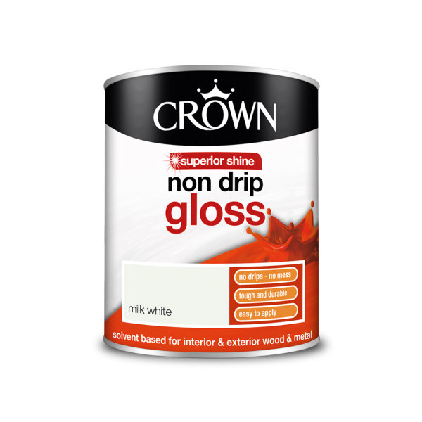 Crown Non-Drip Gloss 750ml - Milk White