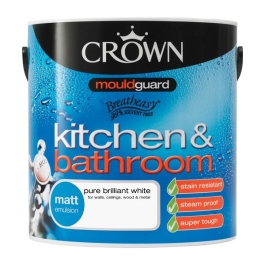 Crown Kitchen Paint 1Lt - Matt - Pure Brilliant White