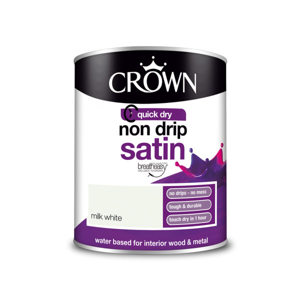 Crown Non-Drip Satin 750ml - Milk White