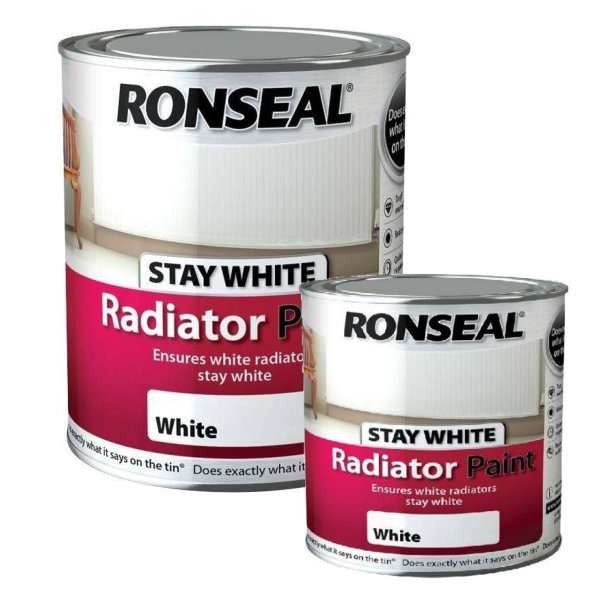 Ronseal Radiator Paint 250ml - Stays White - Gloss