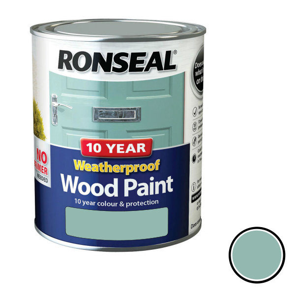 Ronseal 10 Year Weatherproof Wood Paint 750ml - Satin - Duck Egg