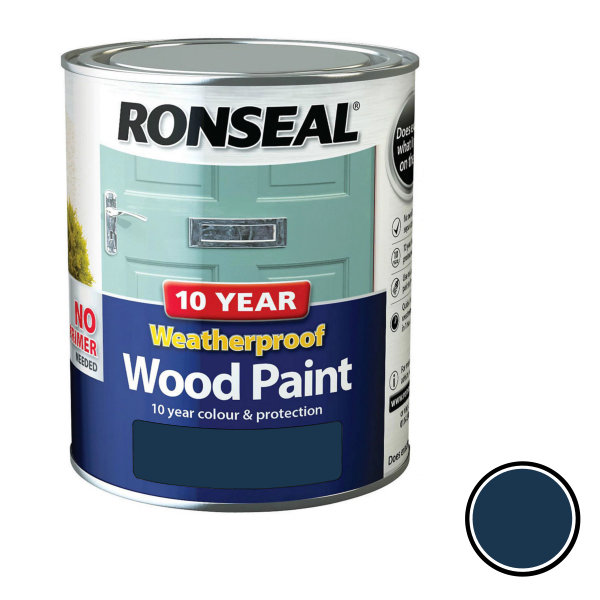 Ronseal 10 Year Weatherproof Wood Paint 750ml - Satin - Midnight Blue