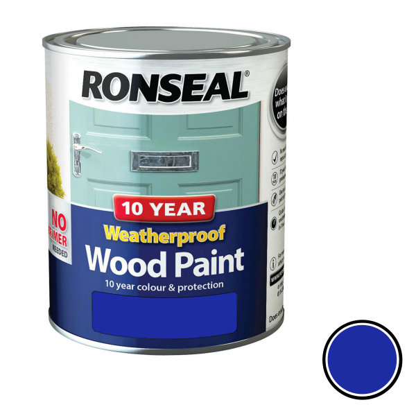 Ronseal 10 Year Weatherproof Wood Paint 750ml - Gloss - Royal Blue