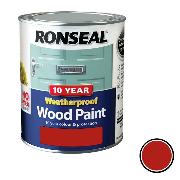 Ronseal 10 Year Weatherproof Wood Paint 750ml - Gloss - Royal Red