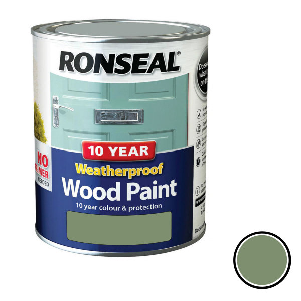 Ronseal 10 Year Weatherproof Wood Paint 750ml - Satin - Spring Green