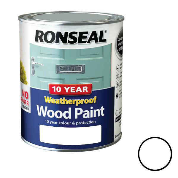 Ronseal 10 Year Weatherproof Wood Paint 750ml - Satin - Pure Brilliant White