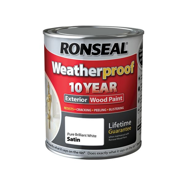 Ronseal 10 Year Exterior Wood Paint - Satin - Pure Brilliant White 750ml