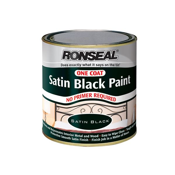 Ronseal One Coat - Satin Black Paint 250ml