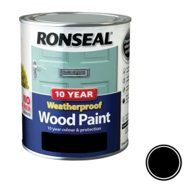 Ronseal 10 Year Weatherproof Wood Paint 750ml - Gloss - Black