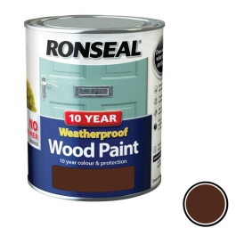 Ronseal 10 Year Weatherproof Wood Paint 750ml - Gloss - Dark Oak