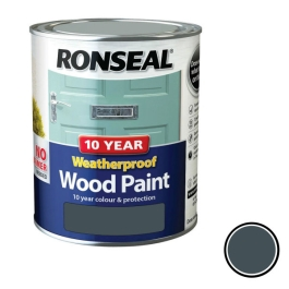 Ronseal 10 Year Weatherproof Wood Paint 750ml - Satin - Grey