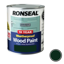 Ronseal 10 Year Weatherproof Wood Paint 750ml - Gloss - Racing Green