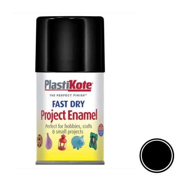 Plasti-Kote Spray Paint 100ml - Enamel - Flat Black