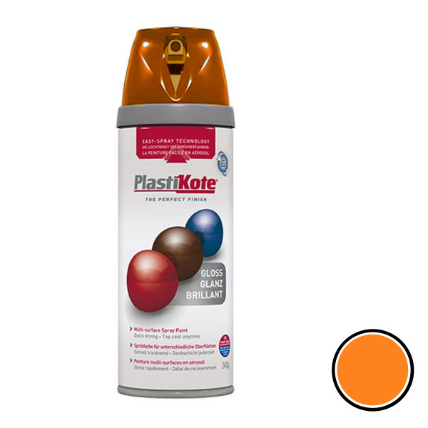 Plasti-Kote Spray Paint 400ml - Fluorescent - Orange