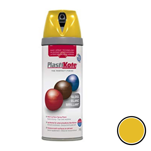 Plasti-Kote Spray Paint 400ml - Gloss - Yellow