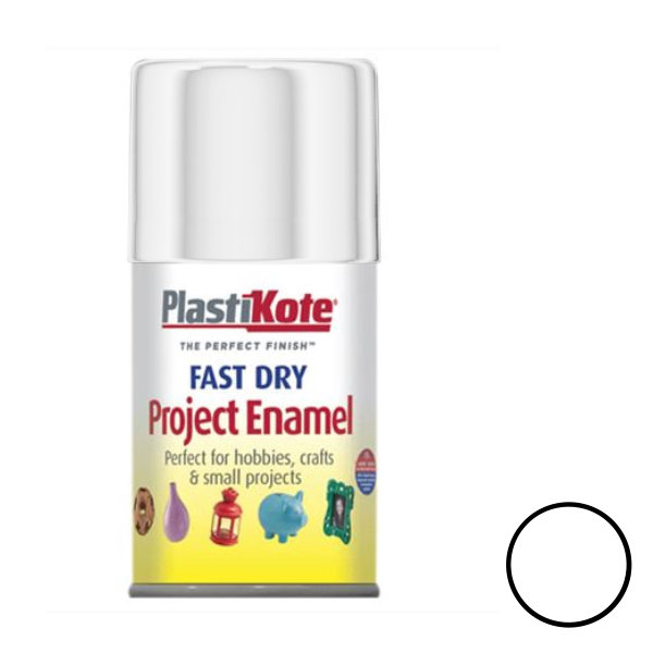 Plasti-Kote Spray Paint 100ml - Enamel - White Gloss