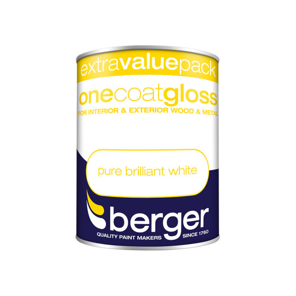 Berger One-Coat Gloss 1.25Lt - Pure Brilliant White