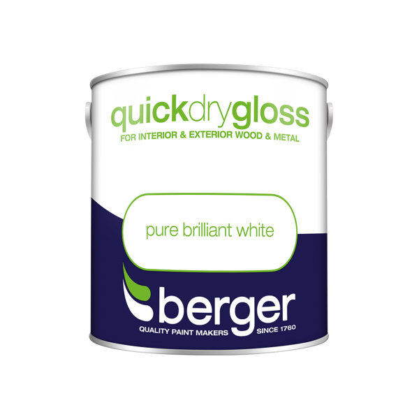 Berger Quick Dry Gloss 2.5Lt - Pure Brilliant White