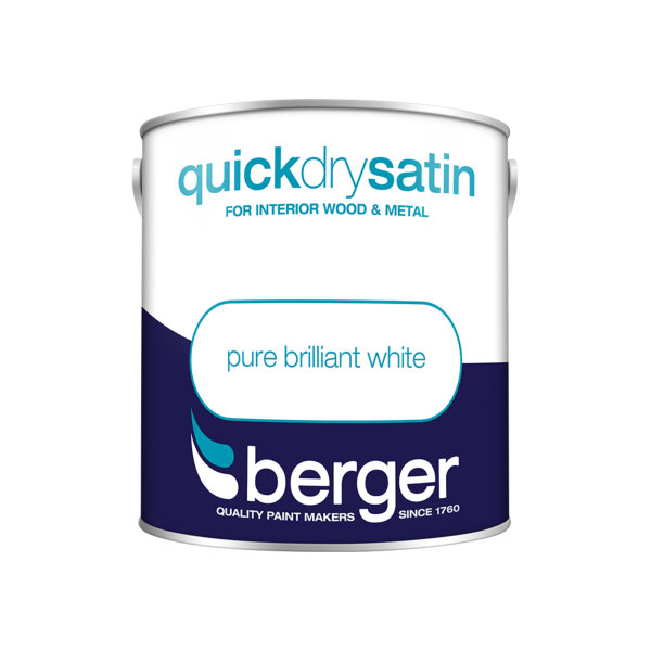 Berger Quick Dry Satin 2.5Lt - Pure Brilliant White