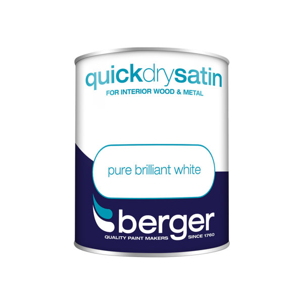 Berger Quick Dry Satin 750ml - Pure Brilliant White