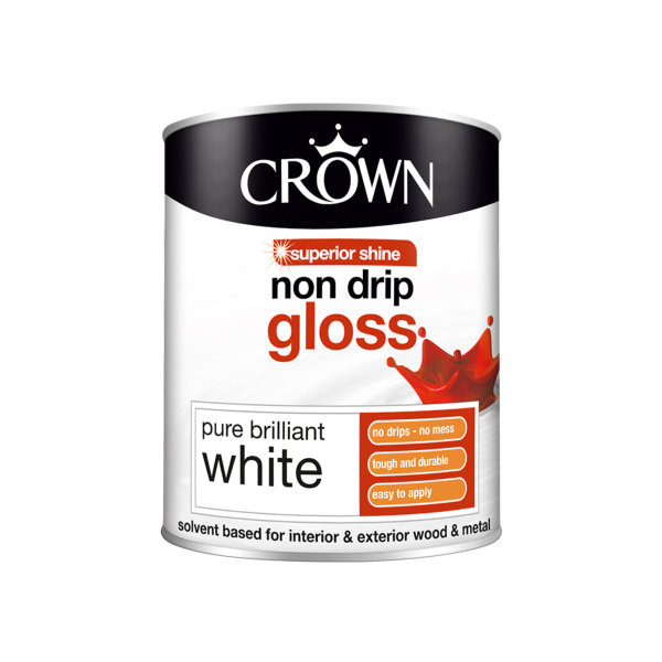 Crown Non-Drip Gloss 750ml - Pure Brilliant White