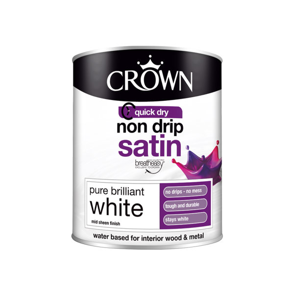 Crown Non-Drip Satin 750ml - Pure Brilliant White