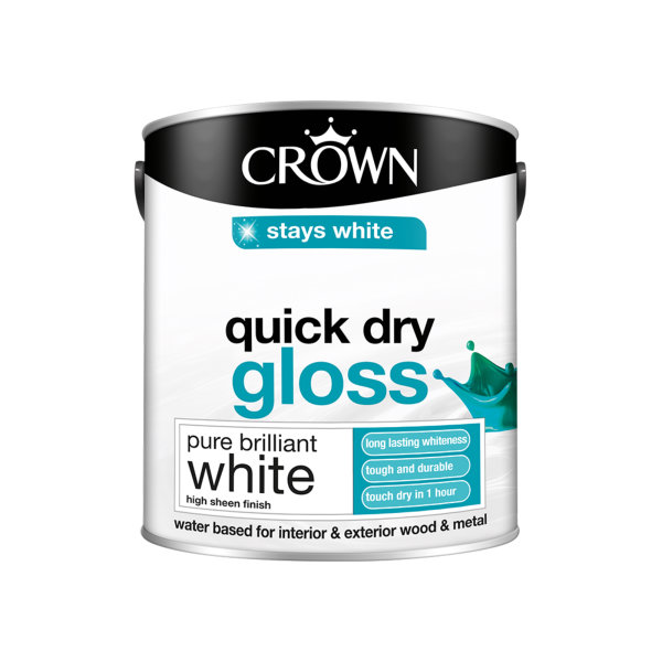 Crown Quick Drying Gloss 2.5Lt - Pure Brilliant White