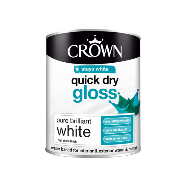 Crown Quick Drying Gloss 750ml - Pure Brilliant White