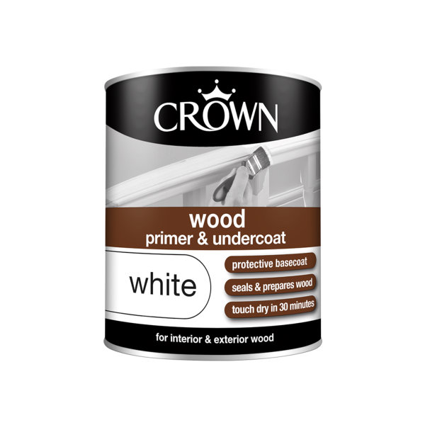 Crown Wood Primer & Undercoat 750ml - White
