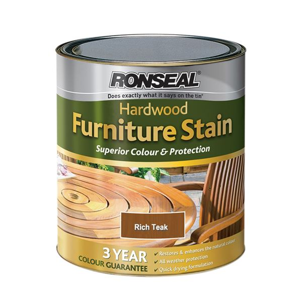 Ronseal Hardwood Garden Furniture Stain 750ml - Deep Mahogany