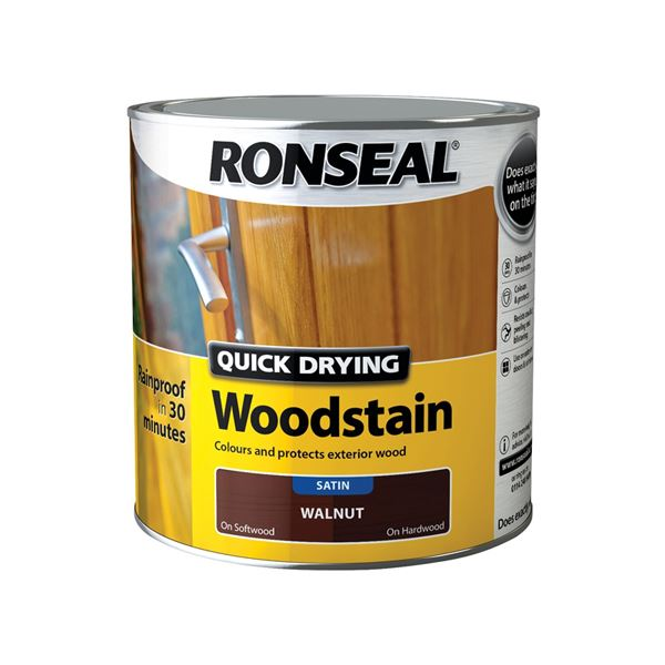 Ronseal Quick Drying Woodstain - Satin - Black Ebony 2.5Lt