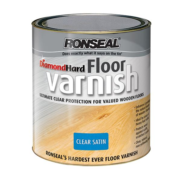 Ronseal Diamond Hard - Floor Varnish 2.5Lt - Medium Oak
