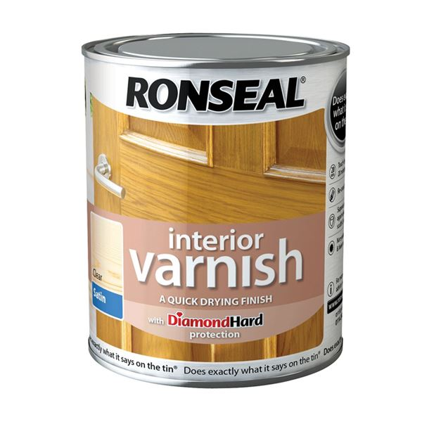 Ronseal Interior Varnish 750ml - Satin - Deep Mahogany