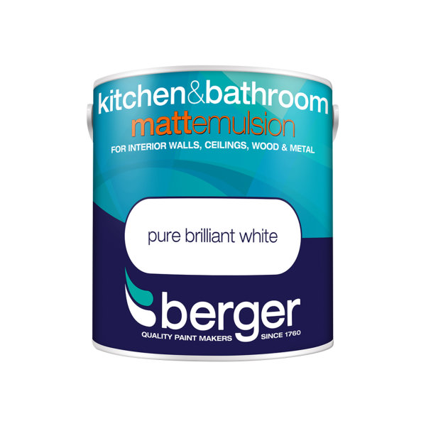 Berger Bath & Kitchen Paint 2.5Lt - Pure Brilliant White - Matt