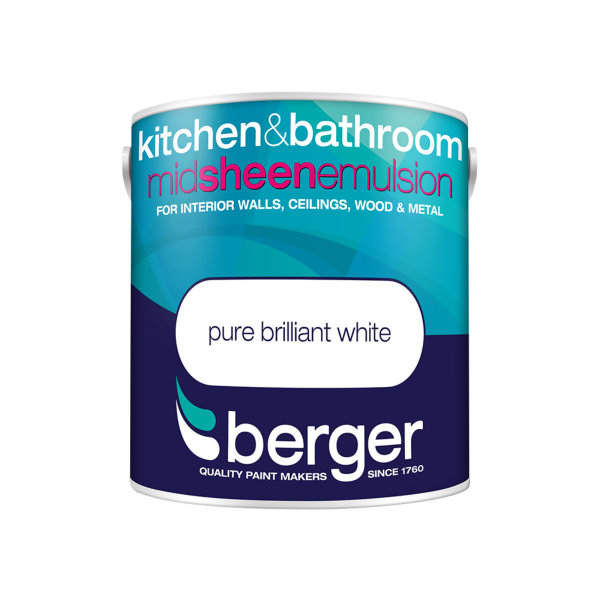 Berger Bath & Kitchen Paint 2.5Lt - Pure Brilliant White - Mid Sheen