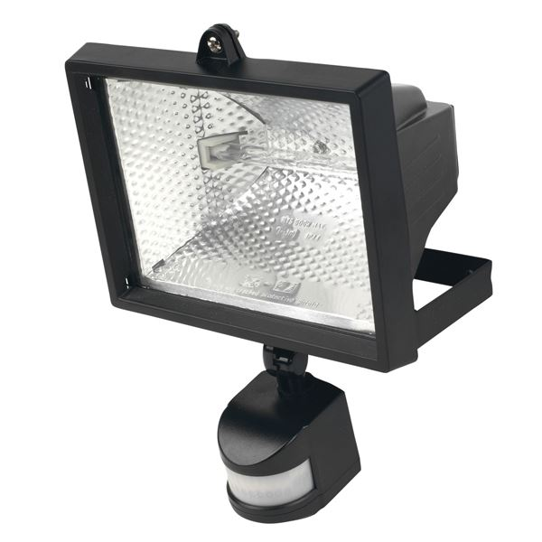 400W PIR Halogen Flood Light Black