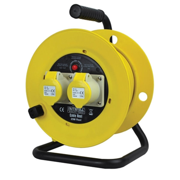 Faithfull Cable Reel 25Mt - 2 Gang - 16 Amp